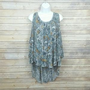 Free People Lightweight Paisley Cold Shoulder Top